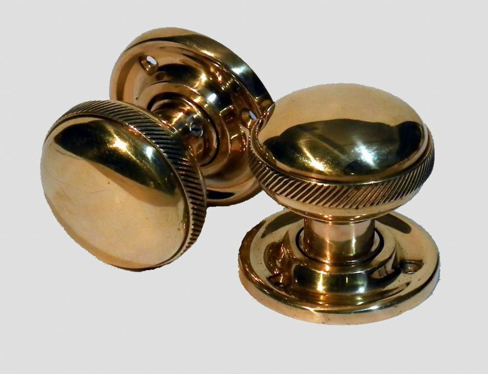 Banded Georgian Door Knob Brass